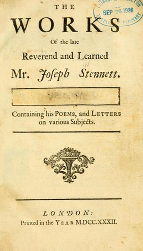 Download The Works of the late Reverend and Learned Mr. Joseph Stennett