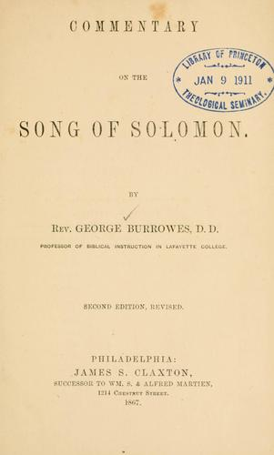 Download A commentary on the Song of Solomon